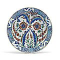 An iznik pottery dish, ottoman turkey, circa 1590