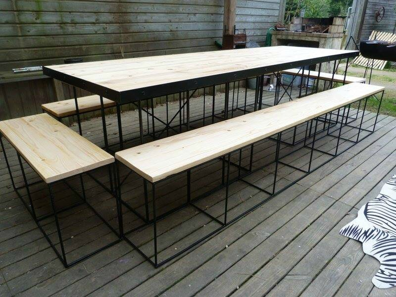 grande table pour 12 personnes les cr ations bois m tal de lolo. Black Bedroom Furniture Sets. Home Design Ideas