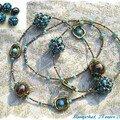 en turquoise et boules céramiques