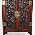 Chinese Huanghuali and Hongmu Cabinet with Carved Dragon Doors, 20th Century