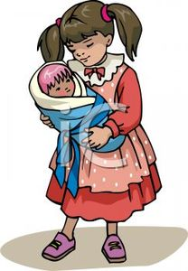 0511_0903_0421_0408_Little_Girl_Playing_with_Her_Baby_Doll_clipart_image
