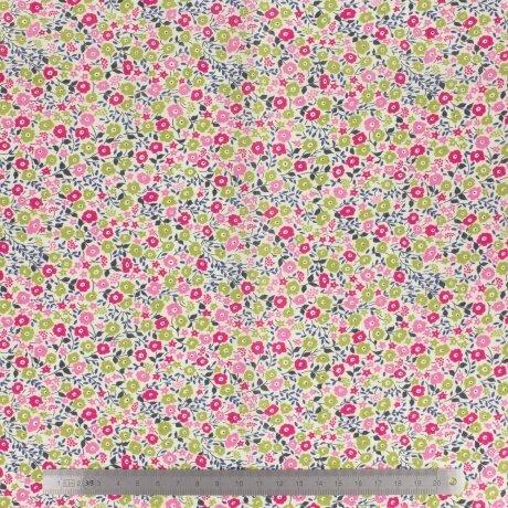 Tissu LIBERTY Fairford rose et vert