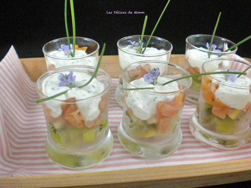 Verrines au saumon fumé et au kiwi 2