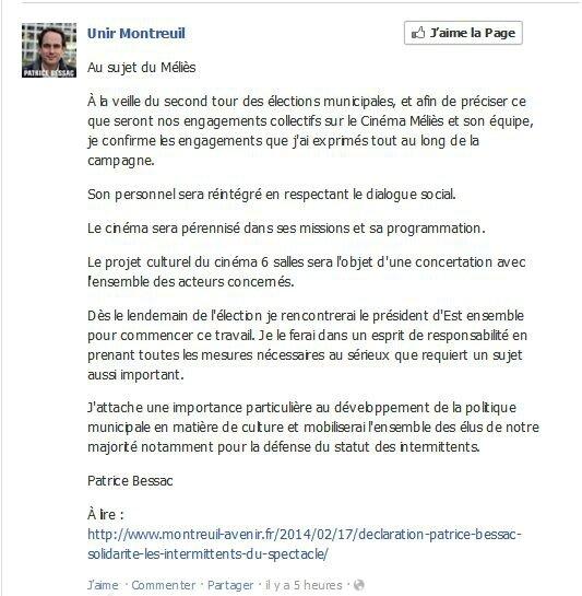 Communiqué Unir Montreuil du 27 mars 2014
