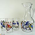 Vaisselle vintage ... pichet et verres * oiseaux