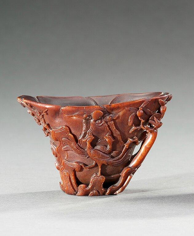 Coupe libatoire en corne de rhinocéros, Chine, Fin XVIIème-Début XVIIIème siècle