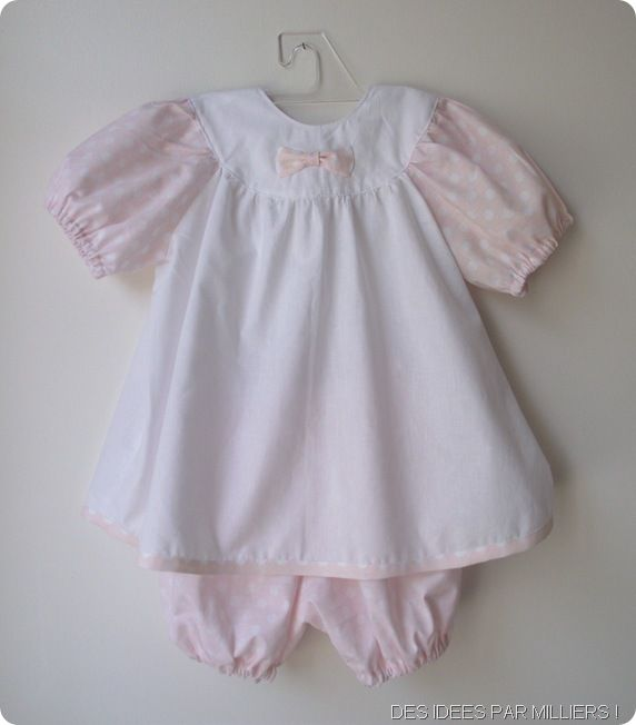 Robe blanche manches roses a pois blancs 6 mois bloomer rose a pois blancs