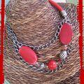 Collier chaine argent et rouge (CC25)