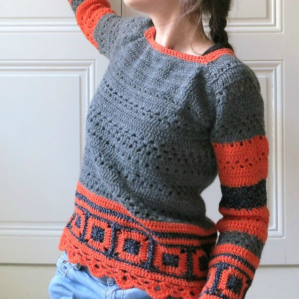 pull granny orange côté
