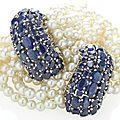 Paire de bracelets perles de culture et saphirs, par suzanne belperron