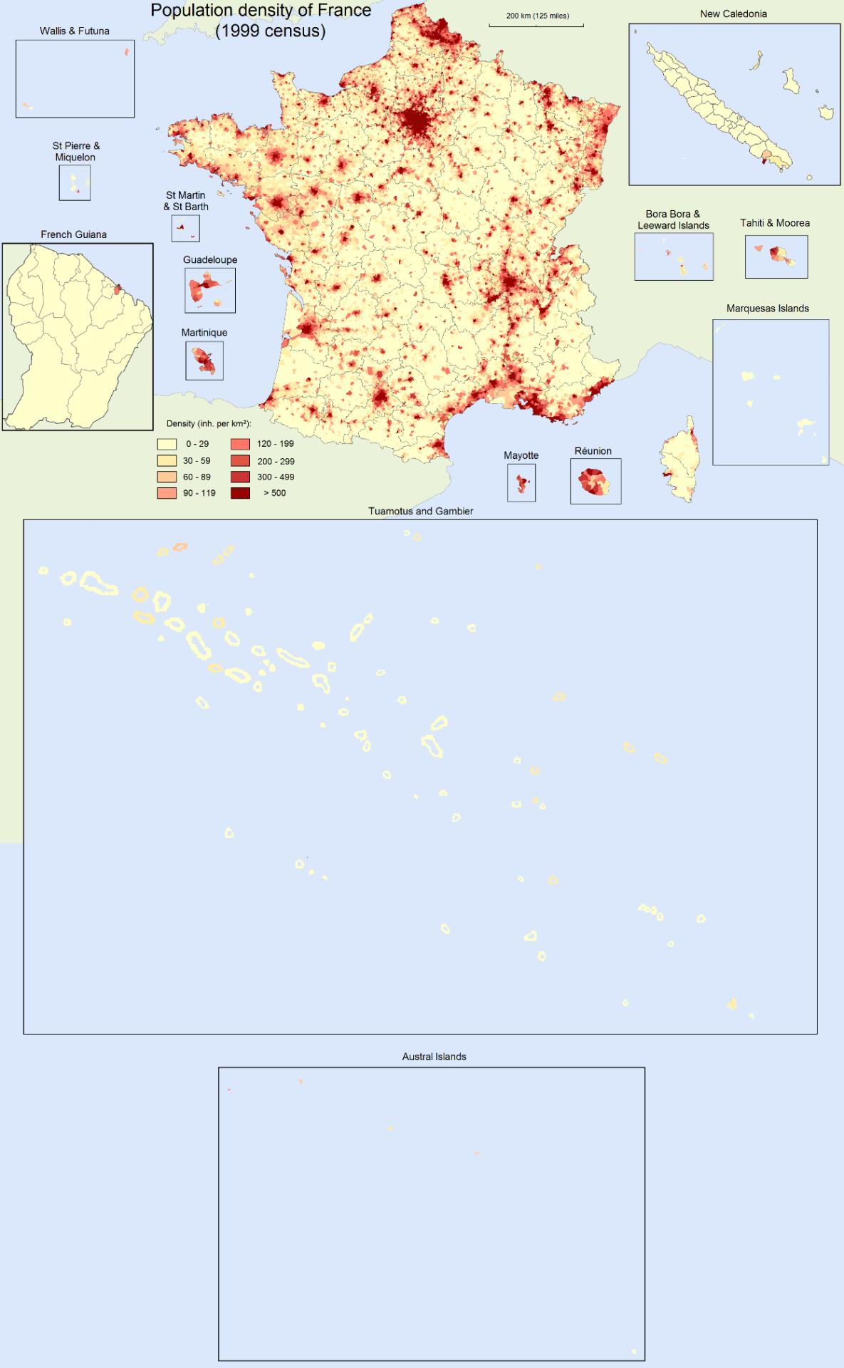 Population density of France, 1999