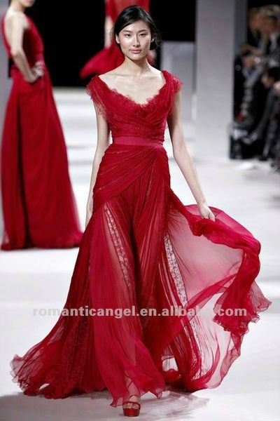 elie_saab_red_elegant_chiffon_and_lace_evening_dress