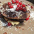 Pancakes à la banane sauce chocolat coco
