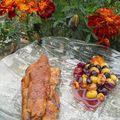 Aiguilettes de canard caramélisées aux raisins