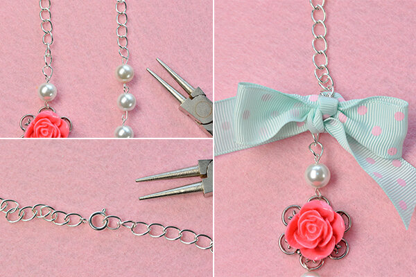 how-to-make-a-beaded-flower-necklace-with-white-pearl-beads-and-ribbon-bowknot-7