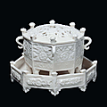 An octagonal Blanc de Chine porcelain Marco Polo censer with small Blanc de Chine porcelain plate, Dehua, Qing Dynasty