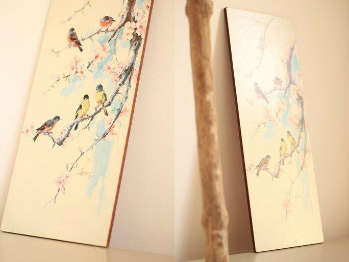 tableau oiseaux japonais cerisier enfant Trendy little 5