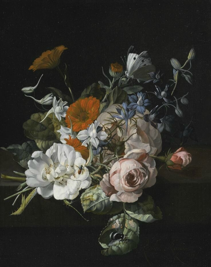Rachel Ruysch, Still life of flowers with a nosegay of roses, marigolds, larkspur, a bumblebee and other insects