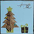 57. bleu, vert et chocolat - sapin origami à pois