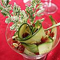 Verrines de courgettes marinees, tomates sechees, pignons et tempura de fanes de carottes