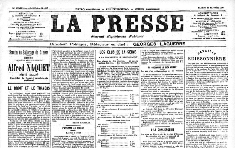 La Presse 22 février 1890