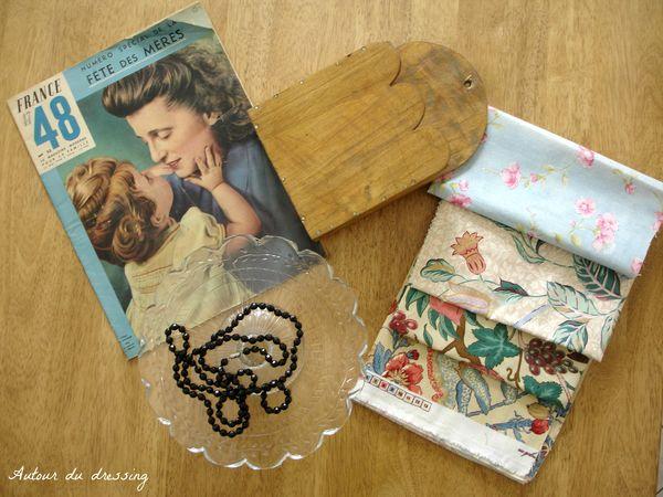 petites chines, trouvailles brocante, vide-grenier ancien bois, tissus