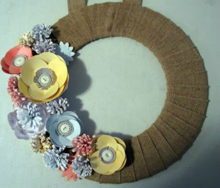 Burlap and blooms simply created wreath