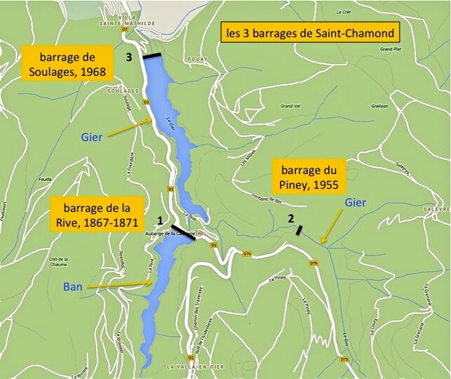 3 barrages plan sur fond de carte