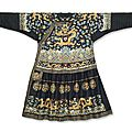An extremely rare imperial midnight-blue embroidered silk formal court robe, chaopao , qianlong period (1736-1795)