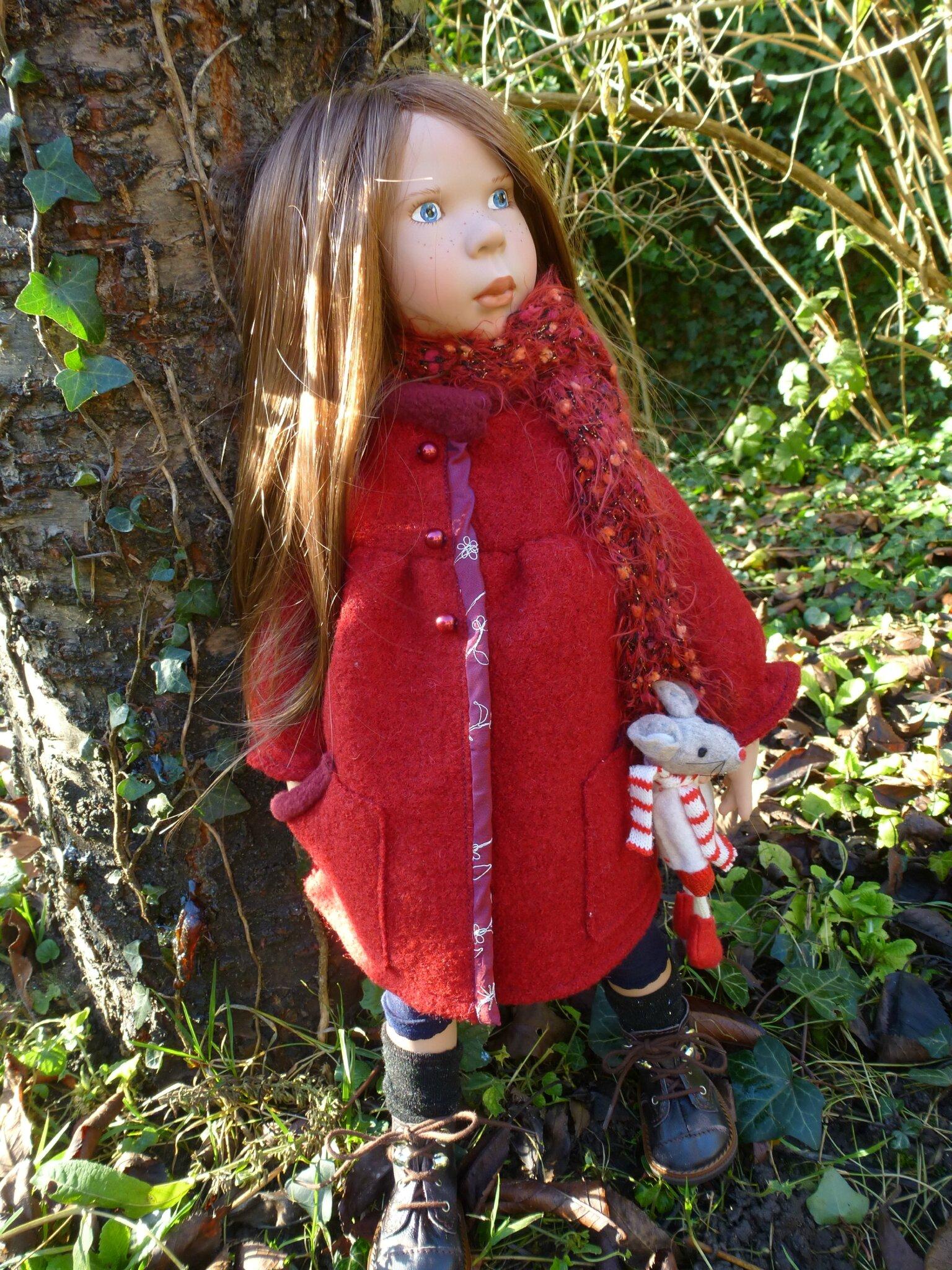 Manteau rouge en laine bouillie, pour grande Zwergnase , écharpe, plus disponible, 15 € +fdp