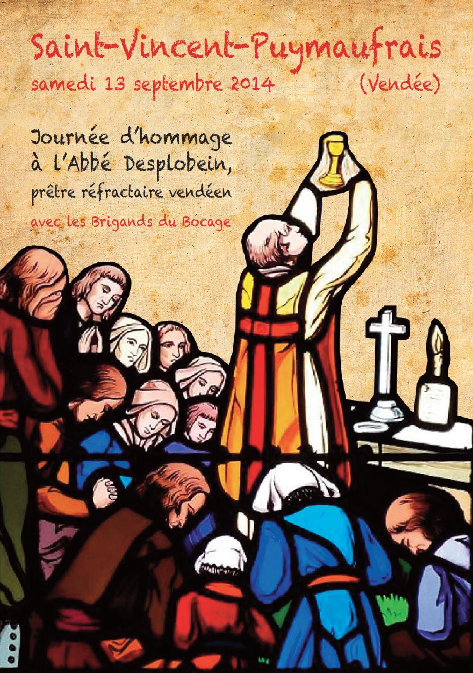 13 septembre 2014 – Journée d'hommage à l'abbé Desplobein, prêtre réfractaire vendéen