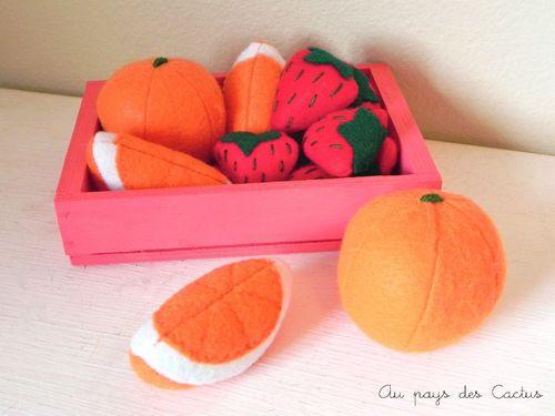 Dinette en feutrine fruits fraises, oranges et quartiers d'orange Au pays des Cactus 10