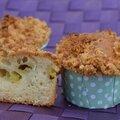 Muffins à la rhubarbe, façon crumble