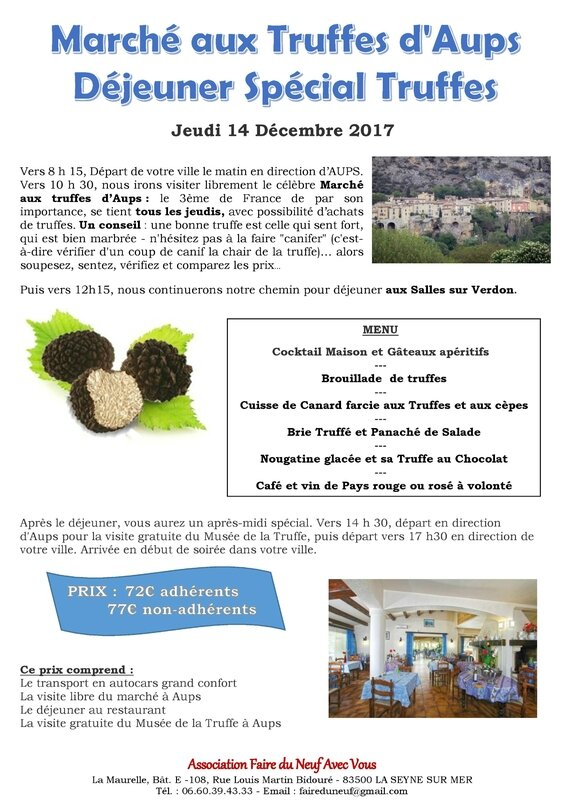 Marché aux Truffes d Aups + déjeuner - jeudi 14 décembre 2017