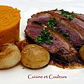 Steack de canard et navets caramliss  l'orangina 