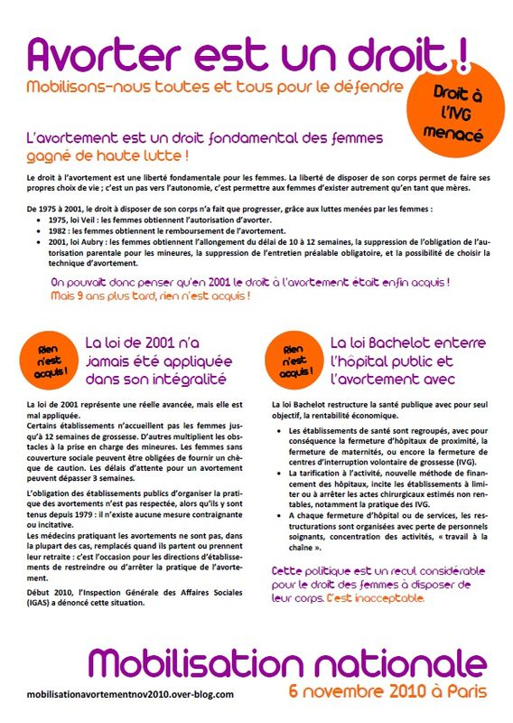 Mobilisation nationale du 6 novembre 2010 avorter est un for Avorter a la maison
