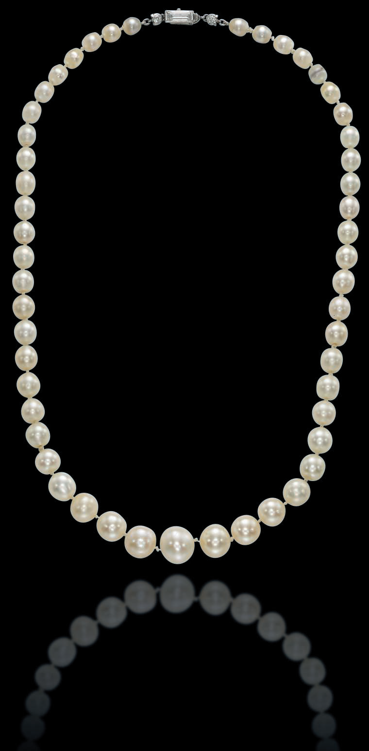 A single-strand natural pearl, cultured pearl and diamond necklace, by Cartier