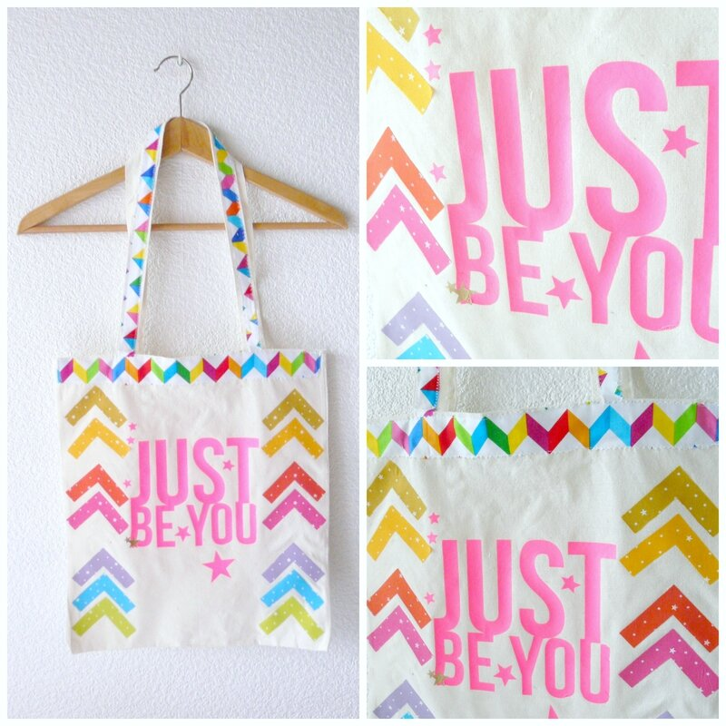 just be you le tote bag couture customis tout en couleurs couture et co par cyrielle. Black Bedroom Furniture Sets. Home Design Ideas