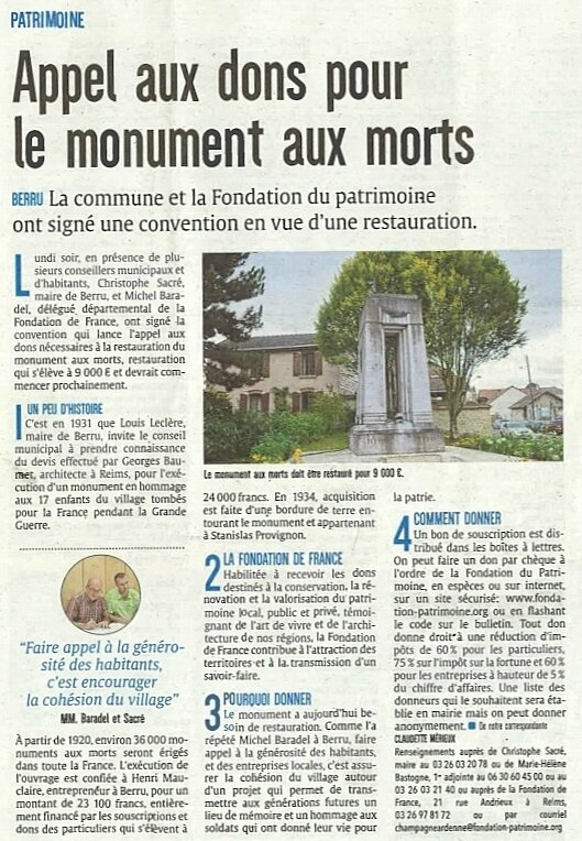 souscription monument aux morts article Journal l'Union