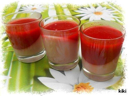 Panna cotta à la framboise et son coulis de fraise