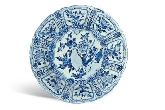 A Chinese blue and white Kraak porselein dish, Wanli period (1573-1619)