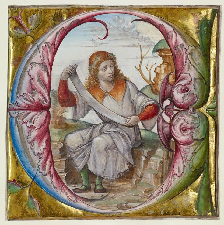 Initial E Saint John the Evangelist, cutting from an antiphonal, Lombardy, Master B