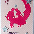carte de félicitations de mariage avec couple sur la lune
