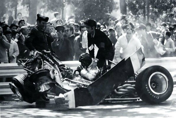 Jochen-Rindt's-crash-–-1969-Spanish-GP-F1-597x401