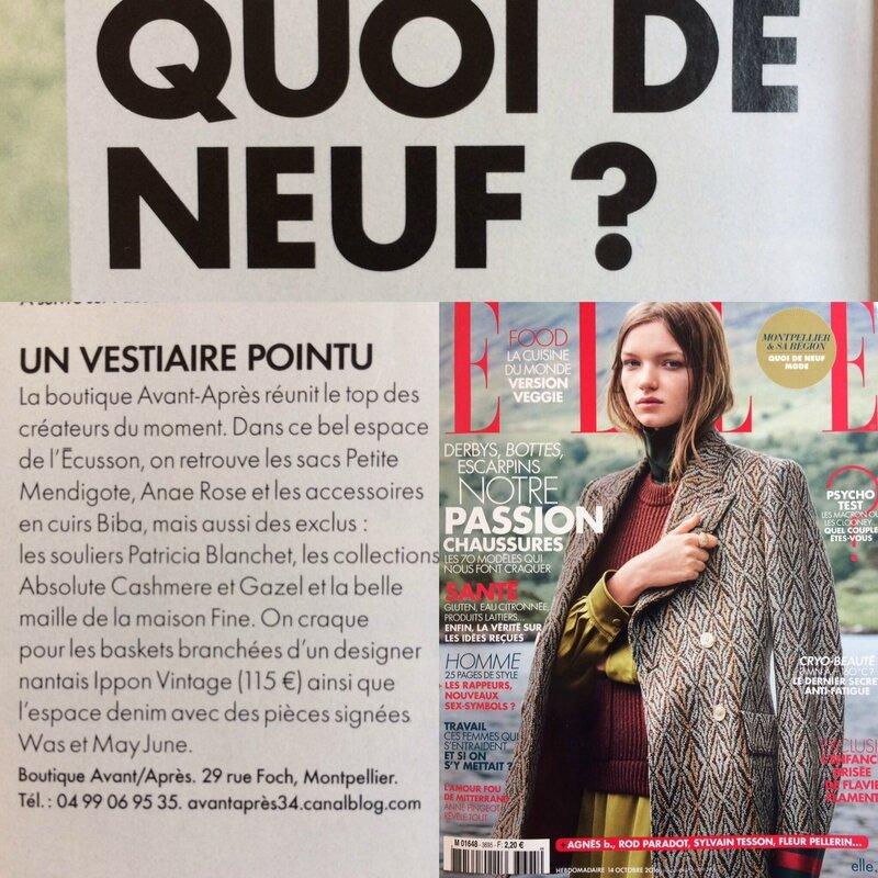 Parution ELLE magasine oct 2016 Boutique Avant Après 29 rue Foch 34000 Montpellier