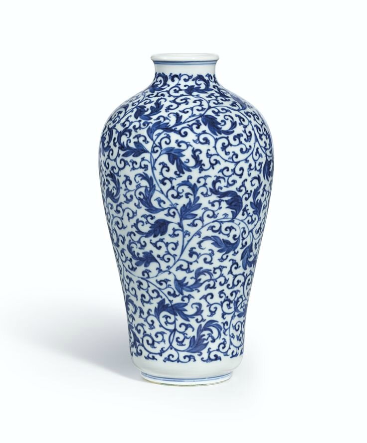 A fine and rare blue and white 'Foliate Scroll' meiping, Mark and period of Yongzheng