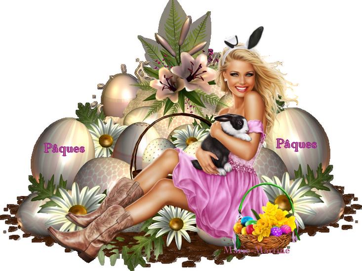 femme lapin rose