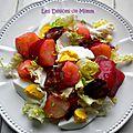 Salade chaude de pommes de terre, betteraves, œufs, lardons…