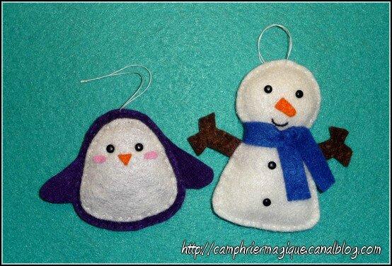 pingouin et bonhomme de neige en feutrine_02