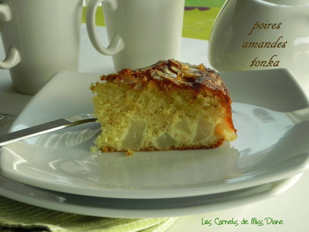 Gâteau aux poires, aux amandes et à la fève tonka, sans gluten et sans lactose
